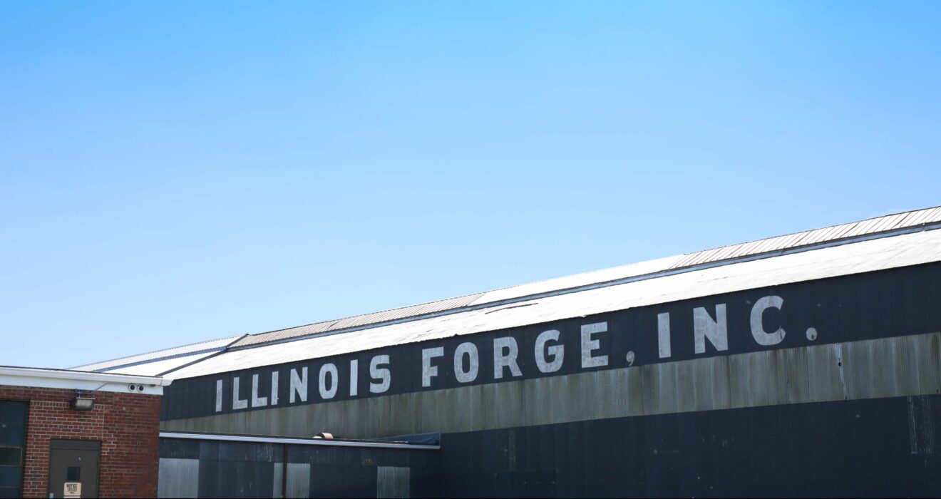 Illinois forge building, blue sky